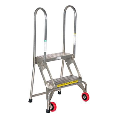 Folding Step Ladder With Wheels 2 Steps Stainless Steel Labelmaster